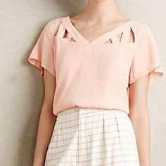 Anthropologie Maeve Tri Cut Blouse Brand new with tags! By Maeve. Color: Peach. No trades. Anthropologie Tops Blouses