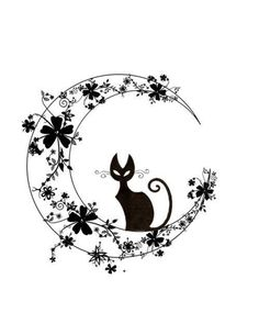 Cat on flower-covered crescent moon