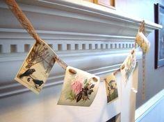 Vintage Scraps: pretty postcard garland
