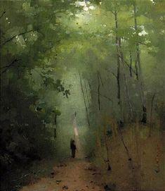 """Landscape at Fontainebleu"" oil/canvas - Abbott Handerson Thayer"