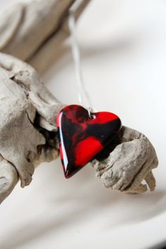 Red and Black Heart Pendant Ceramic by SilverburnStudios on Etsy, €21.00
