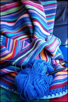 RamblingChef's Rainbow Blanket - sewing a blanket Crochet Afgans, Crochet Quilt, Afghan Crochet Patterns, Love Crochet, Beautiful Crochet, Crochet Stitches, Crochet Baby, Knitting Patterns, Crotchet