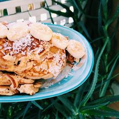 I made coconut pancakes yesterday topped with bananas and coconut flakes. It took me about five attempts to not have them turn out either burned or ripped into pieces haha. Do you guys have any tips of making pancakes or making the process easier?  #Padgram