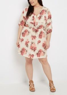 Plus Floral Zip Neck Shirt Dress | rue21