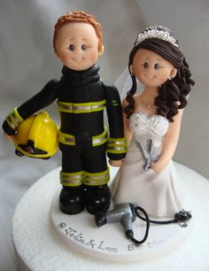 The price shown is for a bride and groom in wedding attire placed on a white round base with name and date. The cake topper shown in the display