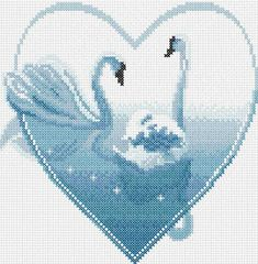 Two swans cross stitch free embroidery design - Cross stitch machine embroidery - Machine embroidery community