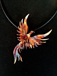 Oxidized copper necklace, phoenix pendant, flame painted phoenix, fire torched copper phoenix, phoenix jewelry, statement necklace, firebird