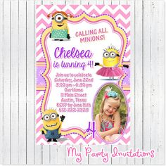 Girly Minion Despicable Me Birthday Photo by MyPartyInvitations