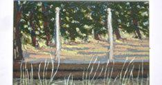 Sennelier Oil Pastels, Oil Pastel Landscape, Pastel Colors, Colours, Acrylic Box, Tree Branches, Art Work, Vines, Backyard