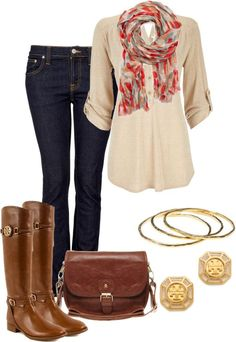 cream blouse, patterned scarf, dark denim, brown boots.