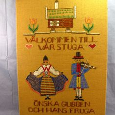 "Swedish Welcome to Our Home Crewel Needlepoint Vintage Completed 21x32"" Cottage"