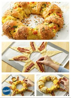 Bacon, Egg and Cheese Brunch Ring is a yummy and simple. Made with Pillsbury refrigerated crescent rolls and filled with traditional brunch ingredients - this dish is sure to go fast! Check out the easy step-by-step recipe here. Breakfast And Brunch, Breakfast Dishes, Breakfast Recipes, Breakfast Ring, Egg Dishes For Brunch, Fun Breakfast Ideas, Christmas Morning Breakfast, Bacon Breakfast, Crescent Rolls