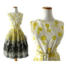 50s Sundress 1950s Dress Floral Dress 50s Sleeveless Dress Yellow Floral Dress Fit and Flare Belted Dress Kay Whitney Size Small Medium by GoodLuxeVintage on Etsy