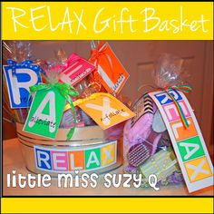 Little Miss Suzy Q: RELAX-Gift idea.  Great for teachers, mom's friends!  FREE printable gift tags!