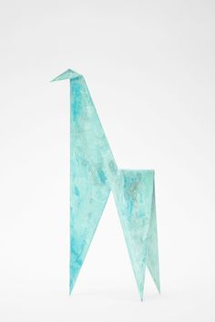 Folding metal sculpture made of thick copper sheet. Inspired by origami art. Here in handmade turquoise patina finish. Available in Zapalgo accessories online store.