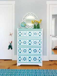 Paint-a-Geometric-Design-on-a-Dresser (don't know if I want to get this loud with the waterfall dresser...)