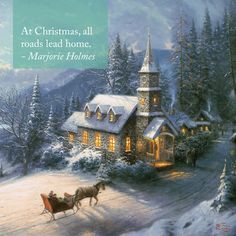 "Inspiration for this Sunday. ""Share the Light"" ""Sunday Evening Sleigh Ride"" - Thomas Kinkade - 1996 Kinkade Paintings, Thomas Kincaid, Art Thomas, Sunday Inspiration, Fine Art Prints, Canvas Prints, Special Pictures, Winter Scenes, Christmas Pictures"