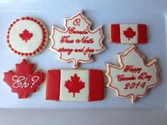 Sampling of my Canada Day 2014 sugar cookies.They even have red and white sprinkles in the dough! Used a homemade stencil for the maple leaves on the flags. The stencils turned out better than the RI transfers, and were MUCH quicker to make. Canada Day 150, Canada Day Party, Happy Canada Day, Canada Eh, Cute Cookies, Cupcake Cookies, Sugar Cookies, Fancy Cookies, Iced Cookies
