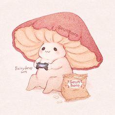Mushroom Drawing, Mushroom Art, Cute Little Drawings, Cute Drawings, Kawaii Drawings, Art Drawings Sketches, Images Kawaii, Arte Indie, Arte Sketchbook
