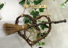 Pagan Gift. Pentagram  Besom Heart. Wiccan Car Amulet. Handmade.. £5.95, via Etsy.