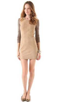 Rebecca Taylor Knit Suede Combo Dress