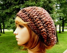 Crochet Hat Slouchy Hat Earthtones Stripe by VillaYarnDesigns, $27.00