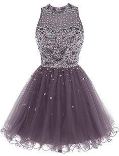 Bbonlinedress Short Tulle Beading Homecoming Dress Prom Gown Grey 4