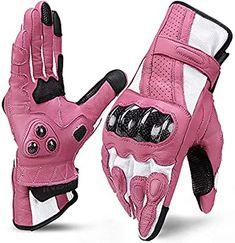 INBIKE Leather Motorcycle Gloves with Carbon Fiber Hard Knuckle Touch Screen for Women Pink Medium Biker Gloves, Leather Motorcycle Gloves, Womens Motorcycle Helmets, Motorcycle Gear, Womens Motorcycle Fashion, Gants Moto Vintage, Moto Rose, Image Moto, Motorbike Girl
