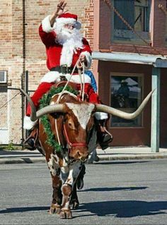 Annual Christmas in Goliad, Texas on the Courthouse Square.ONLY IN TEXAS would Santa be riding a Longhorn! Western Christmas, Country Christmas, Merry Christmas, Christmas Time, Christmas Scenes, Christmas Ideas, Christmas Cards, Christmas In Texas, Christmas Pictures