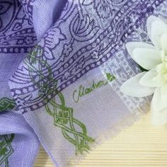 Vibrant Colors, Silk Shawl, Lilac, Floral Patterns, Scarves, Linen Fabric