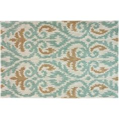 Check out this item at One Kings Lane! Marie Rug, Beige/Aqua
