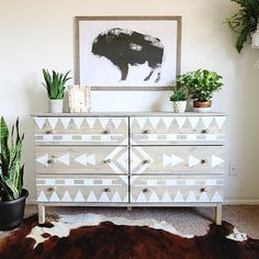 Finally sharing a little peek of the babies' room and a full tutorial for this Tribal Inspired Dresser Makeover we did with @scotchblue Painter's Tape! Check it out on the blog today! #sbpattern #preppaintpull #spon
