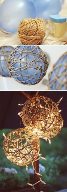 DIY Twine Garden Lanterns: Twine is the perfect material to add the rustic warm . DIY Twine Garden Lanterns: Twine is the perfect material to add the rustic warm and charm to your decor. This twine garden lantern is super easy and quick to make. Rustic Christmas, Christmas Crafts, Christmas Ornaments, Christmas Tree, Outdoor Christmas, Christmas Christmas, Christmas Movies, Diy Christmas Wedding, Christmas Ideas