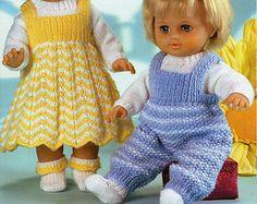 Baby Dolls Knitting Patterns Baby Dolls Dress by Minihobo on Etsy Knitting Dolls Clothes, Baby Doll Clothes, Crochet Doll Clothes, Knitted Dolls, Knitted Baby, Baby Clothes Patterns, Baby Patterns, Clothing Patterns, Doll Patterns
