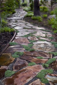 Garden Path and Walkways Ideas Moss and stone path through shade garden . gorgeousMoss and stone path through shade garden . Stone Garden Paths, Garden Stones, Stone Paths, Pathway Stone, Rock Pathway, Stone Walkways, Flagstone Path, Path Ideas, Walkway Ideas