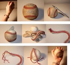 Bracelet made out of baseball stitching