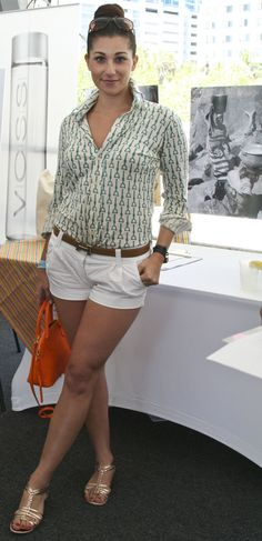 Beautiful equestrian style!  Hermes Belt, Vintage Polo Shirt Printed in Equestrian Horsebits, and White shorts.  Love!