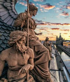 Saint Petersburg, Russia.  East Europe. Traveling. River, sunset, sculptures, church.