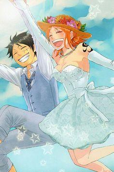 One Piece - Luffy x Nami One Piece Manga, One Piece Nami, One Piece Fanart, Cartoon Ships, Cartoon Art, Wedding Couple Cartoon, Sailor Moon Background, Nami Swan, Zoro And Robin