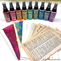 How to use Tim Holtz Distress Oxide Spray and get different looks Alcohol Ink Crafts, Alcohol Ink Art, Distress Ink Techniques, Embossing Techniques, Art Journal Pages, Art Journaling, Journal Ideas, Tim Holtz Distress Ink, Distress Oxide Ink