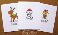 DIY Stamped Christmas Thank You Note set by Emily Keaton from My Little Slice of Bliss: handmade with rubber stamps from Purple Onion Designs {all three card designs; set as 2 each of 3 designs}