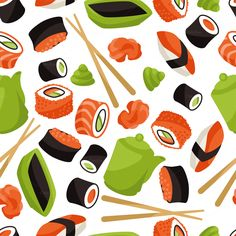 Seamless patterns with sushi by incomible on Creative Market