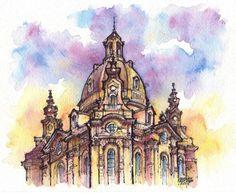 Dresden watercolor illustration by Kot-Filemon on DeviantArt Building Drawing, Building Sketch, Building Art, Watercolor Sketchbook, Watercolor Artwork, Art Sketchbook, Sketch Painting, Painting Art, City Painting