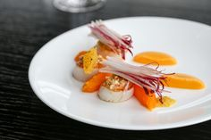 Roast Orkney Scallops With Slow Cooked Pumpkin, Hazelnuts, Citrus Dressing and Red Chicory Salad recipe by professional chef Dan Fletcher, Fenchurch at Sky Garden Chef Recipes, Seafood Recipes, Salad Recipes, Baked Pumpkin, Pumpkin Puree, Chicory Salad, How To Roast Hazelnuts, Scallop Recipes, Sky Garden