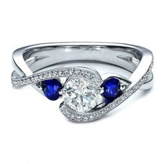 Fancy - Engagement Ring - Round Diamond Twisted Engagement Ring blue sapphire Side stones in 14K White Gold - ES938BRWG