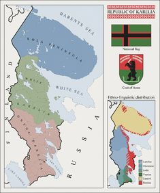 Republic of Karelia by fennomanic on DeviantArt Map Diagram, Imaginary Maps, Old World Maps, Country Maps, Flag Art, United States Map, Mystery Of History, Alternate History, Fantasy Map