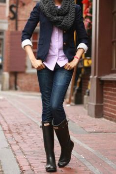blazer button down shirt infinity scarf jeans hunter boots (my choice would be riding boots)