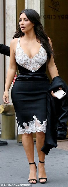 Kim Kardashian steps out in sexy lace and satin pencil dress as she helps celebrate Kanye's birthday in New York | Daily Mail Online