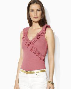 Lauren Ralph Lauren Ruffled Faux Wrap Striped Top   Bloomingdale's