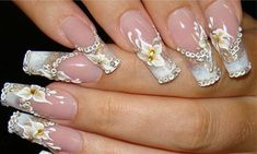 chain, chain design, flower with yellow accent and crystal, gold and sparkle highlights on french mani
